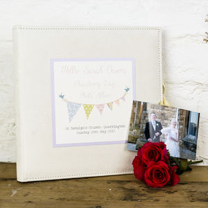 Personalised Bunting Christening Photo Album - keepsakes