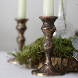 Bronze Candle Sticks Set Of Two - candles & candle holders
