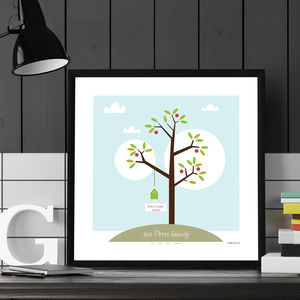 Personalised 'Family Greeting Tree' Poster