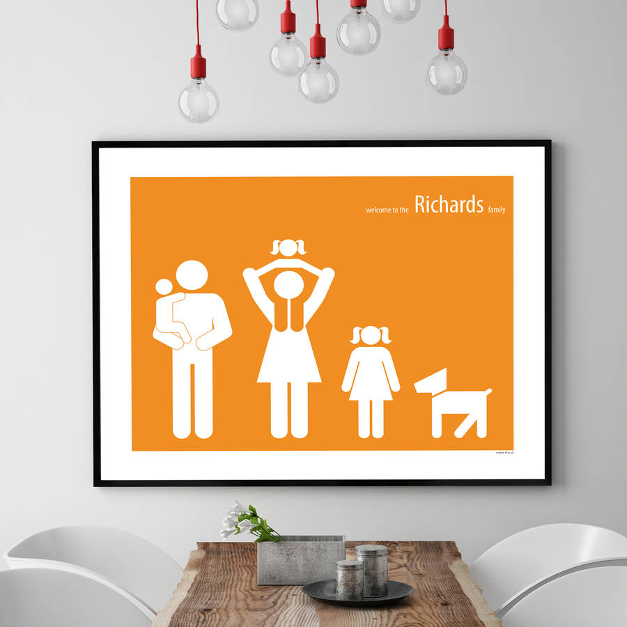 personalised family poster by a piece of