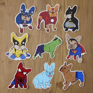Frenchie Super Heroes Sticker Pack
