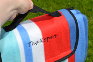 Stripe Fleece Personalised Picnic Blanket - picnic rugs