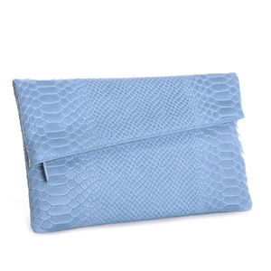 Celeste Blue Envelope Leather Clutch
