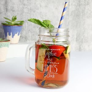 Personalised 'It's Always Pimm's O'clock' Mason Jar - drink & barware