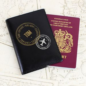 Personalised Black Leather Passport Holder - gifts for travel-lovers