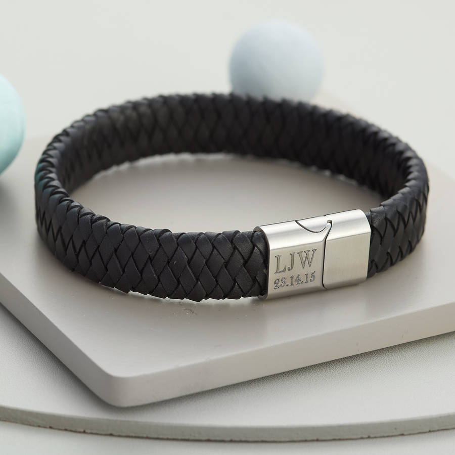 Men's Personalised Brushed Steel And Leather Bracelet Black