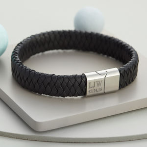 Men's Personalised Brushed Steel And Leather Bracelet - shop by recipient