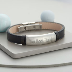 Men's Personalised Leather ID Bracelet - bracelets