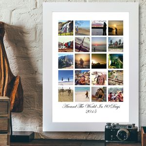 Personalised Block Photo Framed Print - engagement gifts