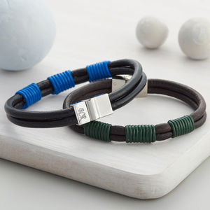 Mens Personalised Clasp Contrast Leather Bracelet