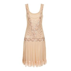 Zelda Embellished Flapper Dress - dresses