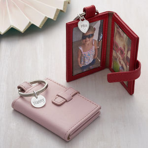 Personalised Silver And Leather Photograph Book Keyring - 3rd anniversary: leather