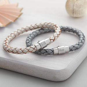 Ladies Personalised Clasp Plaited Leather Bracelet
