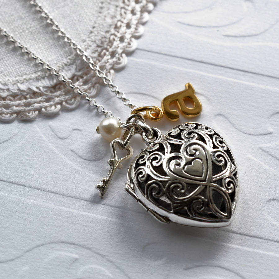Silver Vintage Heart Locket Necklace By Martha Jackson