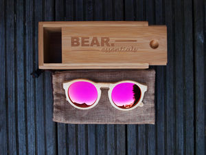 Handcrafted Bamboo Circular Wooden Sunglasses Pink Lens - sunglasses