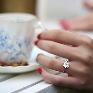 Silver / White Gold Bobble And Twinkle Ring - women's jewellery