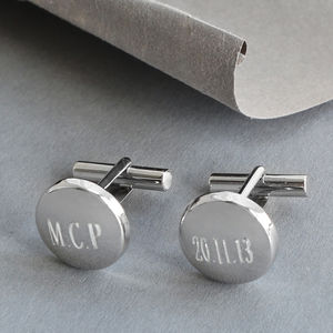 Sterling Silver Round Cufflinks - men's jewellery
