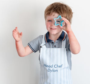 Personalised Child's Apron Ledbury Blue Grey - aprons