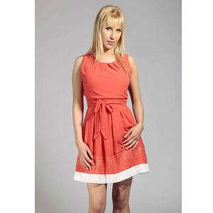 Crochet Hem Coral Fit And Flare Dress - women's fashion
