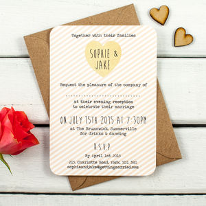 Peach Stripe Evening Invite - wedding stationery