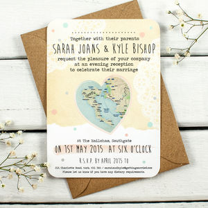 Map Evening Wedding Invitations
