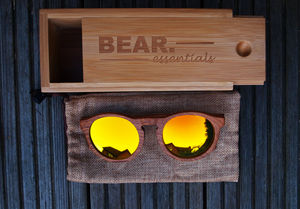 Handcrafted Mahogony Circular Wooden Sunglasses Orange - sunglasses