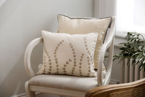 Ivory Heart Reed Cushion