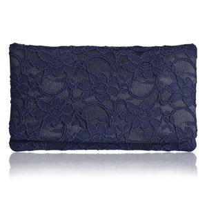 Astrid Navy Lace Clutch Larger Size - women's accessories