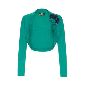 Belle Shrug In Emerald Fine Knit