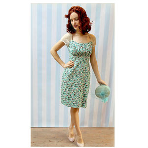 1950s Vintage Style Dress In Silk Cotton Print - dresses