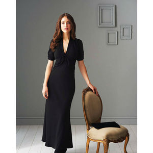 1940s Style Crepe Maxi Dress > Black - dresses