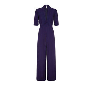 1940s Style Jumpsuit In French Navy Crepe - trousers & leggings