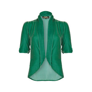 Lilliana Jacket In Jade Silk Velvet - coats & jackets