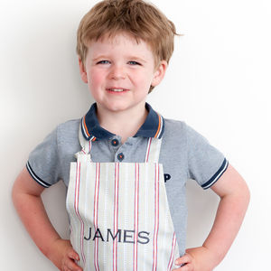 Personalised Child's Apron Malvern Grey Red - aprons
