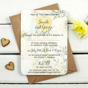 Floral Patchwork Evening Invite - wedding stationery