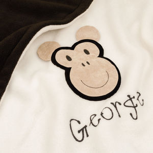 Monkey Personalised Baby Blanket