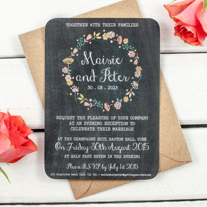 Floral Chalkboard Evening Invite