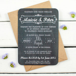 Chalkboard Wedding Invitation Cards