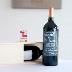 Personalised Magnum Of Bordeaux Red For Your Best Man