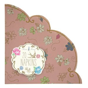 Pink Floral Scalloped Party Napkins
