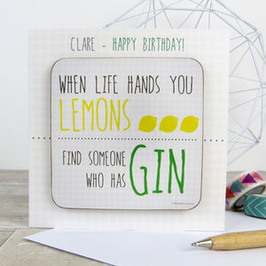Funny Gin Quote Card With Coaster