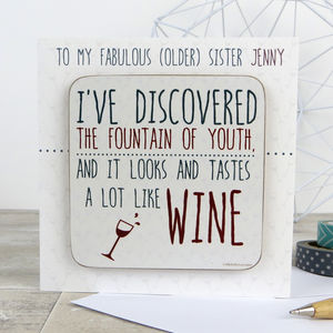 Funny 'Fountain Of Youth' Wine Quote Card With Coaster