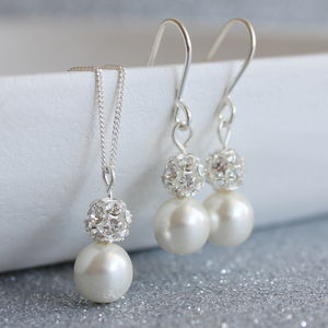 Pearl And Glitterball Necklace And Earring Set - women's jewellery