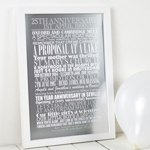 Personalised Silver Wedding Anniversary Print - by year