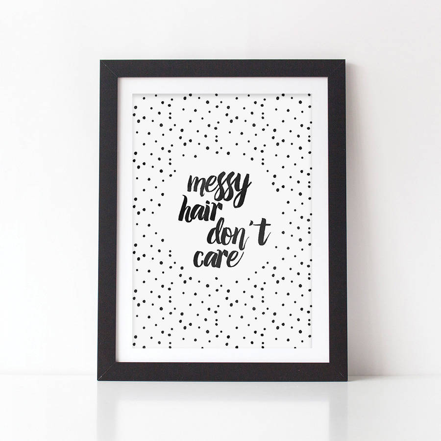 Sweetlove Press Messy Hair Don't Care Kids Room Art Print