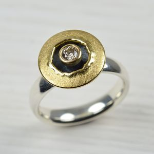 Silver And 18ct Gold Brown Diamond Ring