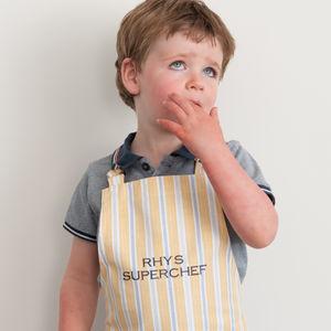 Personalised Child's Apron Ledbury Ochre Grey