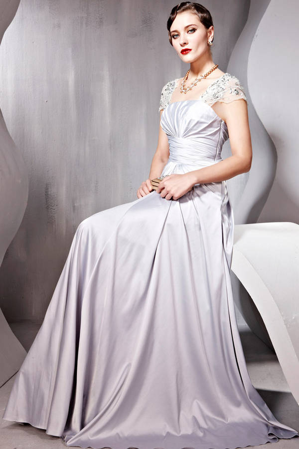 silver satin lace sleeved embellished evening dress by elliot claire ...