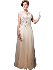 Champagne Glamorous Wedding Dress With Cap Sleeves - dresses