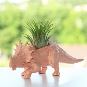 Pastel Colour Dinosaur Planter With Plant - dinosaur inspired children's room